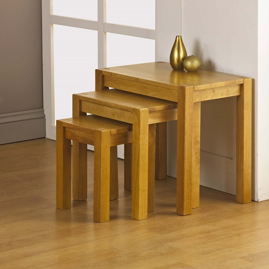 Evelyn wooden nest of tables finish in oak furniture