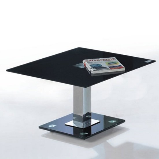Ice Lamp Table In Black Glass Top