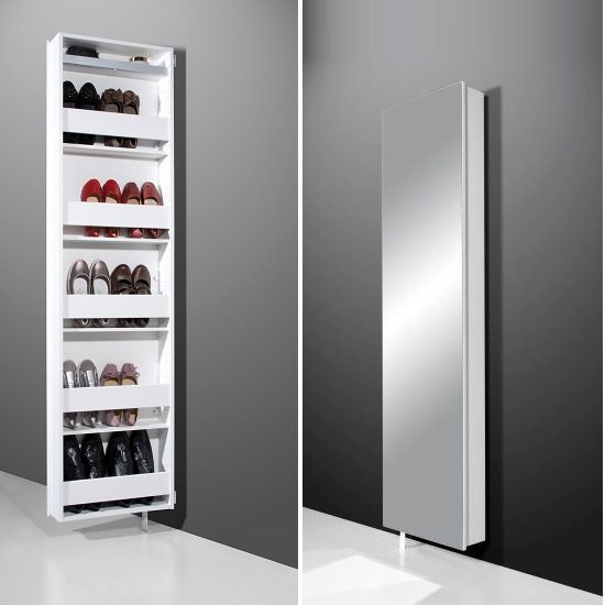 Igma Mirrored Rotating Shoe Storage Cabinet In White 6958