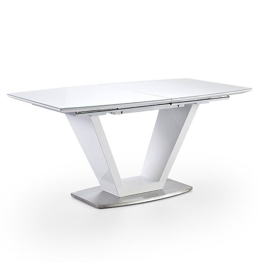 Wesley Extendable Dining Table In Gloss White And Glass Top