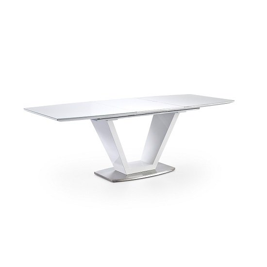 Wesley Extendable Dining Table In Gloss White And Glass Top_2