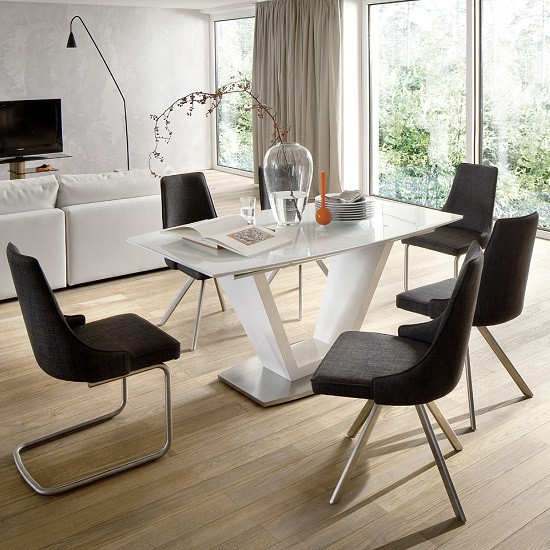 Wesley Extendable Dining Table In Gloss White And Glass Top_3