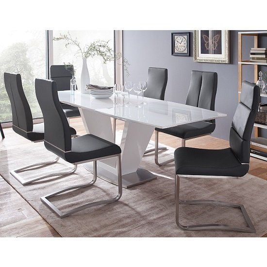 Wesley Extendable Dining Table In Gloss White And Glass Top_5