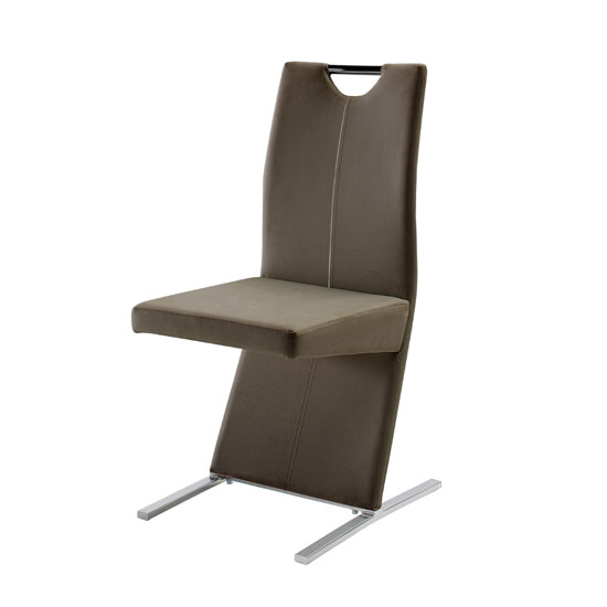 Image Metal Swinging Cappuccino Faux Leather Dining Chair