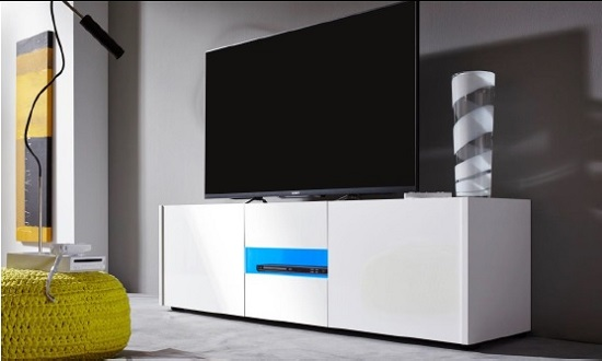 Cannes Wide LCD TV Stand In White Gloss With 3 Doors And LEDs_6