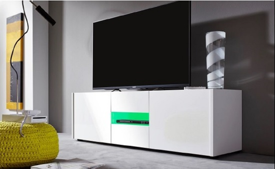 Cannes Wide LCD TV Stand In White Gloss With 3 Doors And LEDs_5