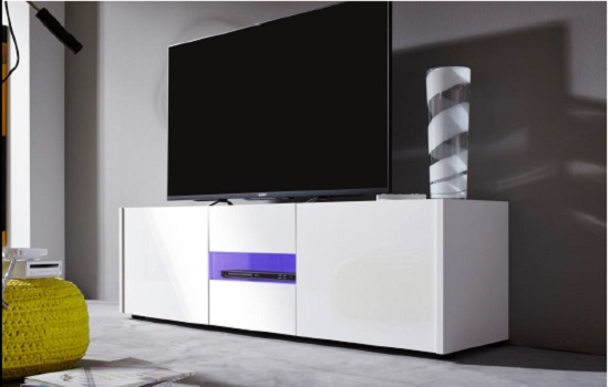 Cannes Wide LCD TV Stand In White Gloss With 3 Doors And LEDs_3