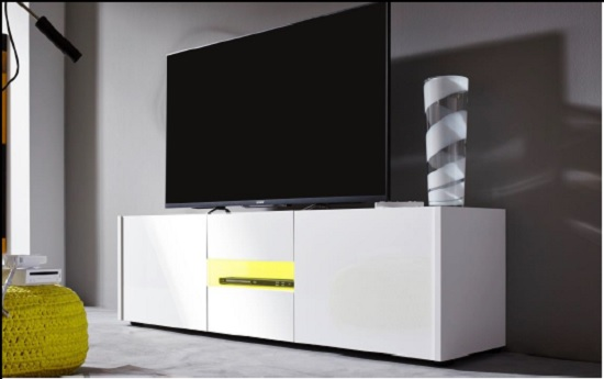 Cannes Wide LCD TV Stand In White Gloss With 3 Doors And LEDs_4