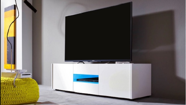 Cannes LCD TV Stand In White Gloss With 3 Doors And LED Lighting_5