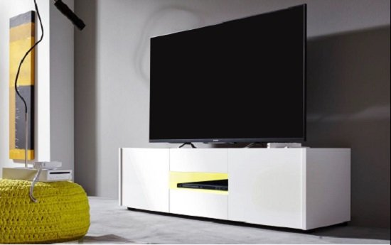 Cannes LCD TV Stand In White Gloss With 3 Doors And LED Lighting_7