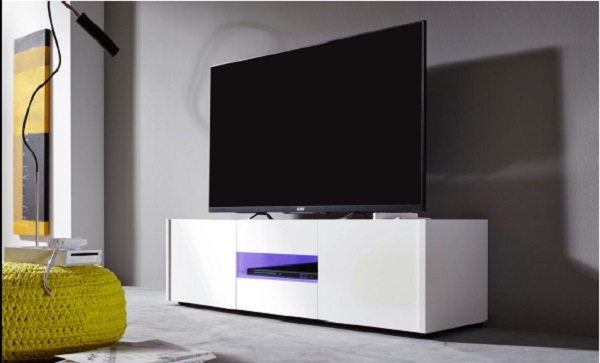 Cannes LCD TV Stand In White Gloss With 3 Doors And LED Lighting_6