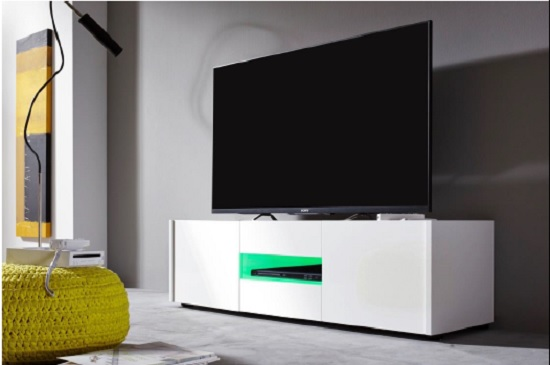 Cannes LCD TV Stand In White Gloss With 3 Doors And LED Lighting_8