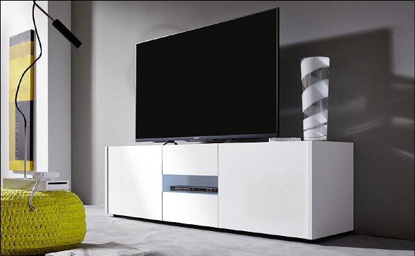 Cannes Wide LCD TV Stand In White Gloss With 3 Doors And LEDs_2