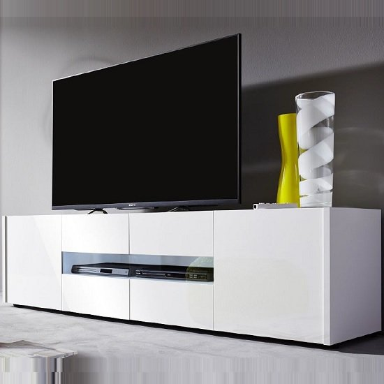 Cannes LCD TV Stand In White Gloss With 4 Doors And LED Lighting