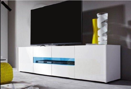 Cannes LCD TV Stand In White Gloss With 4 Doors And LED Lighting_3