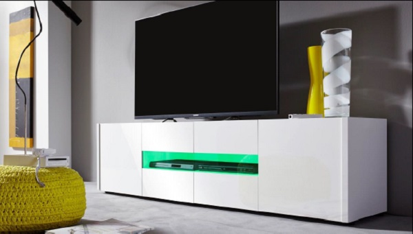 Cannes LCD TV Stand In White Gloss With 4 Doors And LED Lighting_4