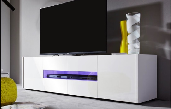 Cannes LCD TV Stand In White Gloss With 4 Doors And LED Lighting_5