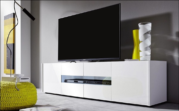Cannes LCD TV Stand In White Gloss With 4 Doors And LED Lighting_2