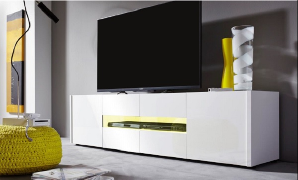 Cannes LCD TV Stand In White Gloss With 4 Doors And LED Lighting_6