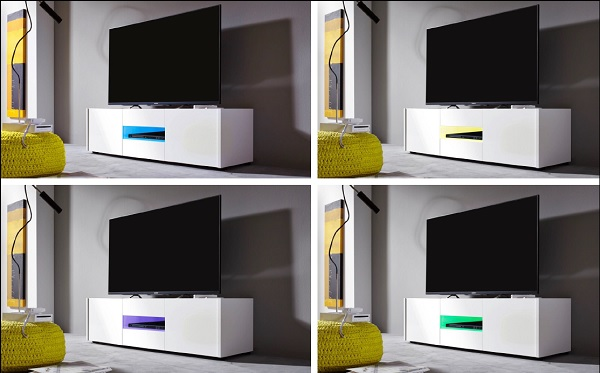 Cannes LCD TV Stand In White Gloss With 3 Doors And LED Lighting_9