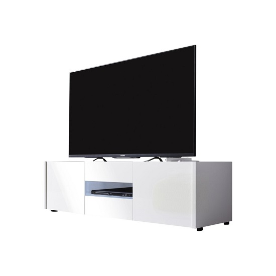 Cannes LCD TV Stand In White Gloss With 3 Doors And LED Lighting_3
