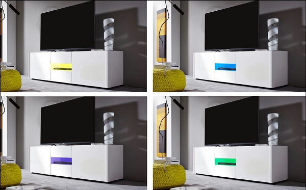 Cannes Wide LCD TV Stand In White Gloss With 3 Doors And LEDs_7