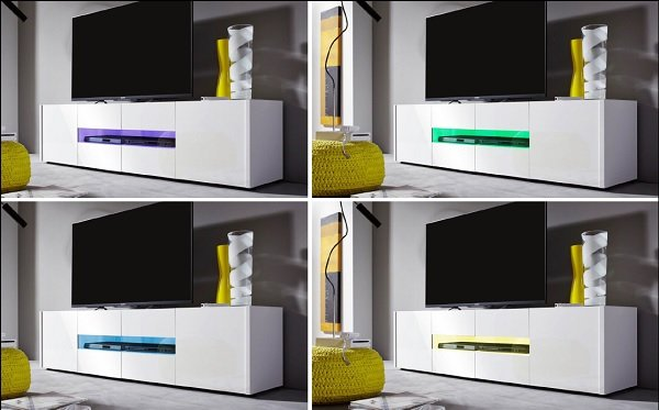 Cannes LCD TV Stand In White Gloss With 4 Doors And LED Lighting_7