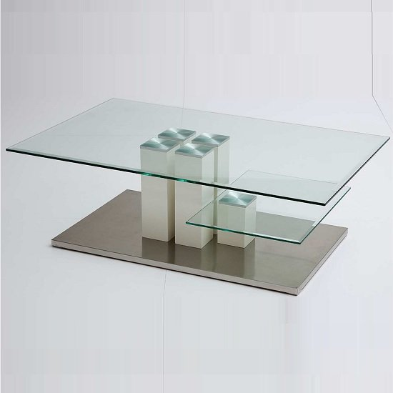 Pucci Glass Coffee Table With White Gloss Base 19030 Furnitu