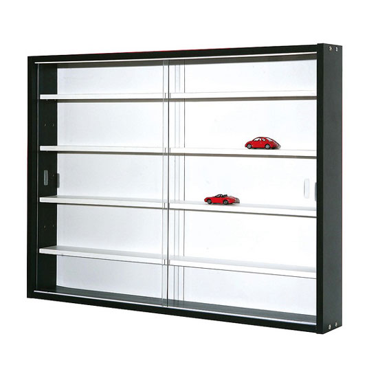 collecty black and white display cabinet with 2 glass slider