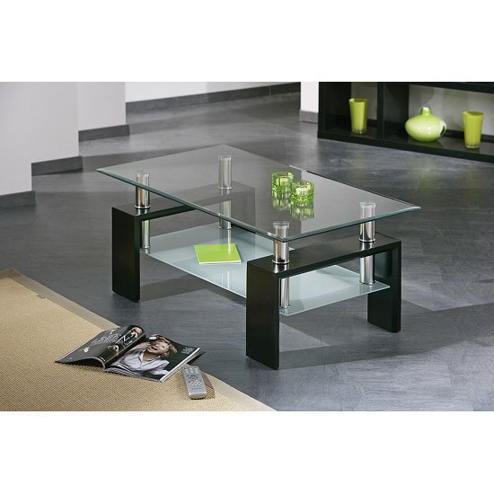 Photo of Dana clear glass rectangular coffee table with black wooden base