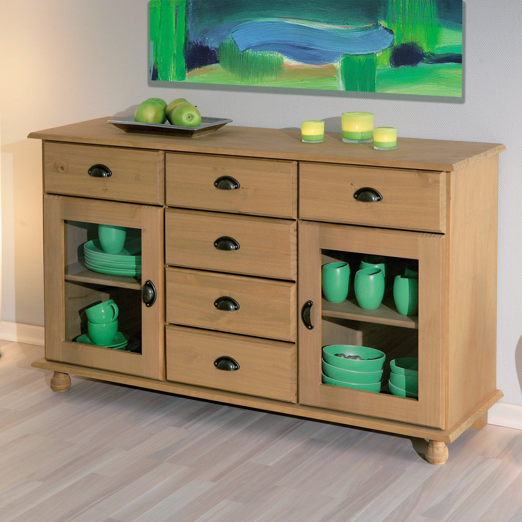 Ronn Solid Wood Finish 2 Glass Door Sideboard With 6 Drawers
