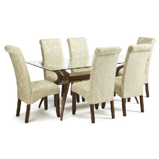 Jenson Glass Dining Table With 6 Ameera Chairs in Floral Cream