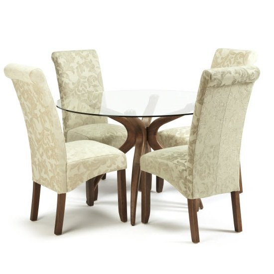 Jenson Glass Dining Table With 4 Ameera Chairs in Floral Cream