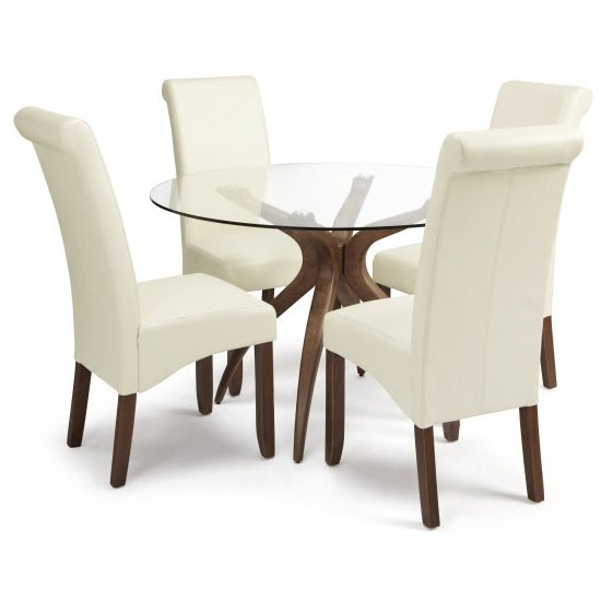 Jenson Glass Dining Table And 4 Ameera Chair in Cream PU Leather