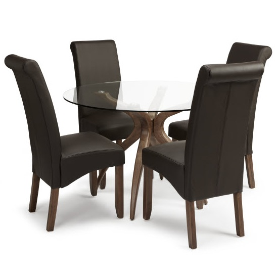 Jenson Round Glass Dining Table 4 Ameera Brown PU Leather Chairs