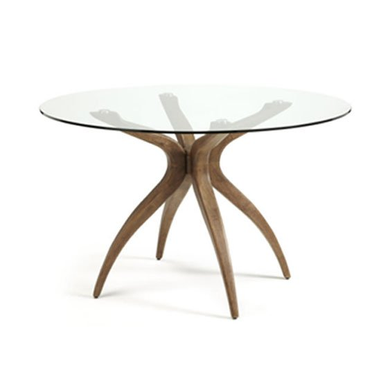 Jenson Dining Table Round In Glass Top With Walnut Legs