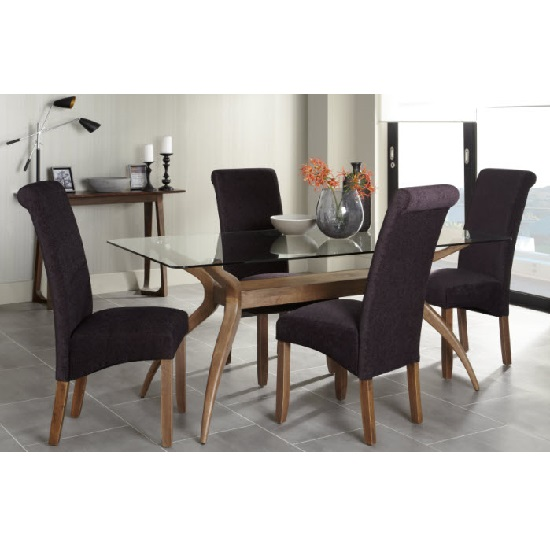 Jenson Glass Dining Table With 6 Ameera Chairs in Aubergine