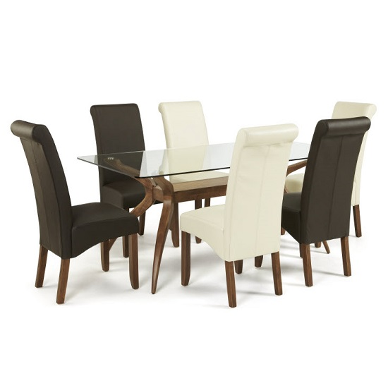Jenson Glass Dining Table With 6 Ameera Chairs in Faux Leather