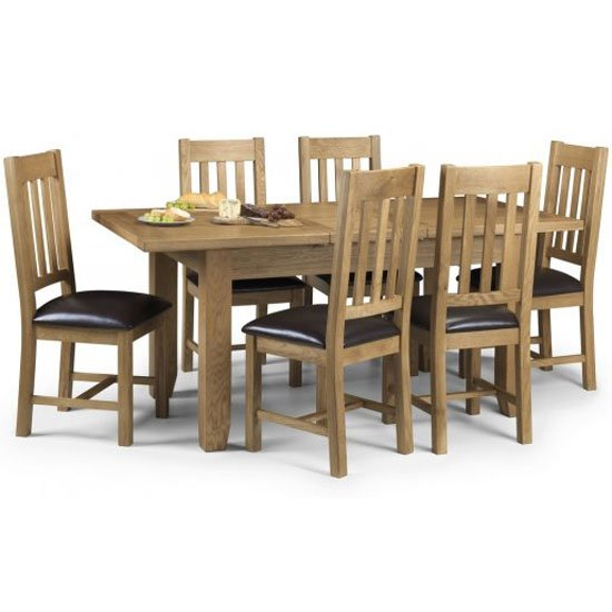 Raven Wooden Oak Extending Rectangular Dining Table And 6 Chairs