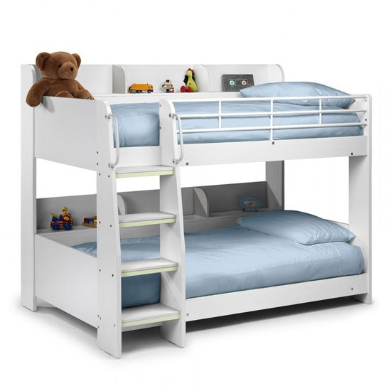 Domino Bunk Bed In All White With Shelving Unit In Each Bunk