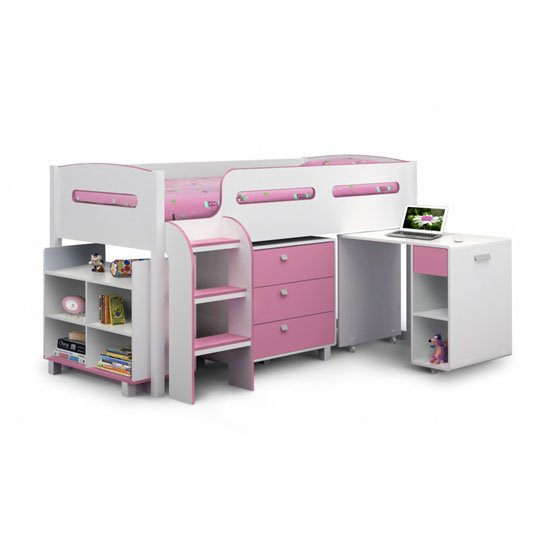 Read more about Kimbo children cabin bed in white and soft pink