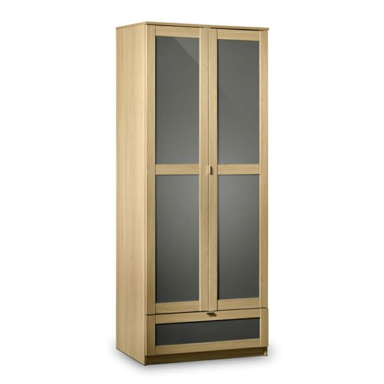 Simo Light Oak Finish 2 Door Wardrobe With 1 Drawer