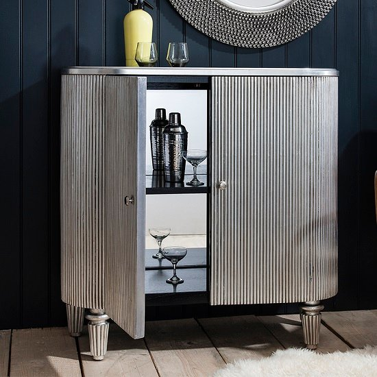 Blarney Bar Cabinet In Grey With Black And Mirrored