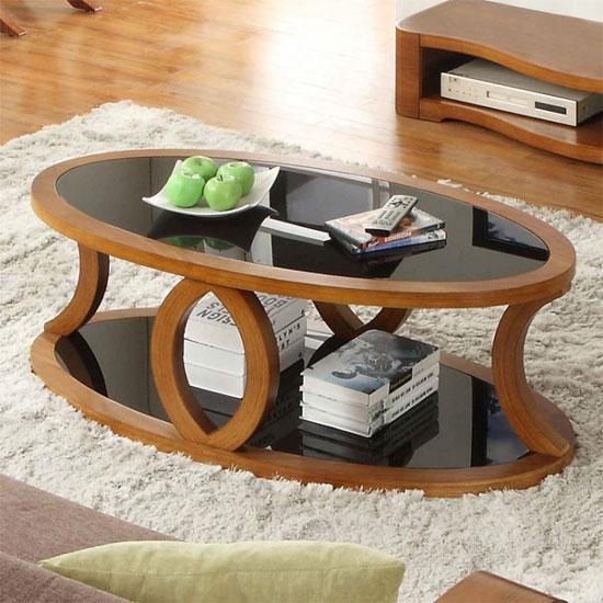 Walnut Oval Coffee Table Uk: Seville Walnut Black Glass Coffee Table With Undershelf 2217