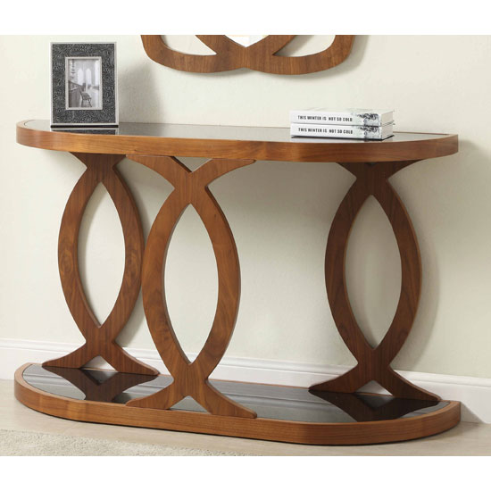 Seville Glass Console Table In Black And Walnut