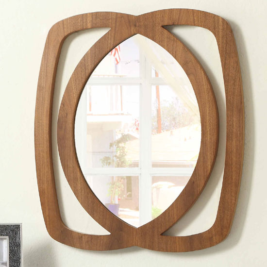 Seville Walnut Finish Wooden Frame Wall Mirror