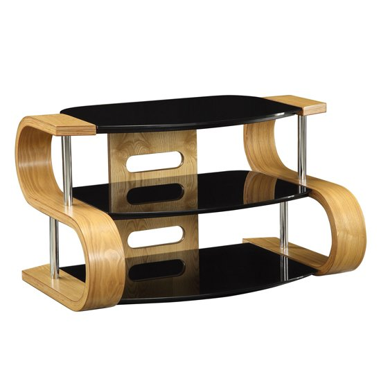 Curved wooden oak veneer lcd plasma tv stand jf203 850 for Table tv verre
