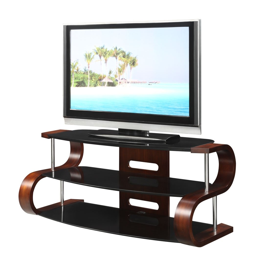 Curved Lcd Tv Stand In Wooden Walnut Veneer