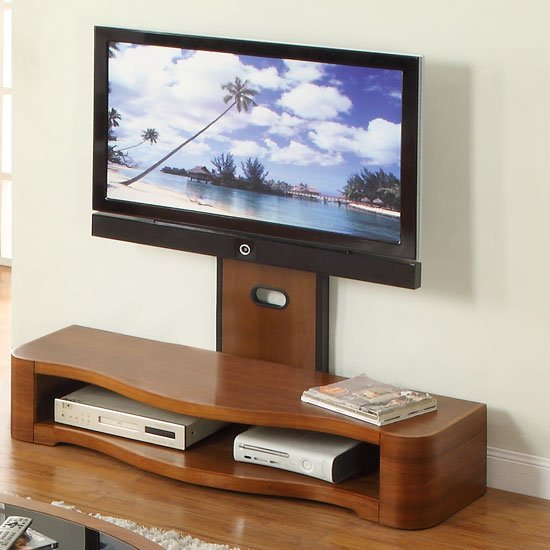 Curved Wooden LCD Cantilever TV Stand In Walnut