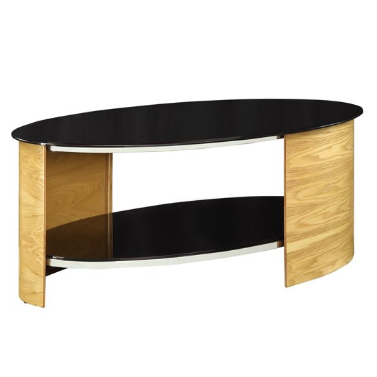 BentWood Coffee Table Oval Shape In Black Glass With Oak